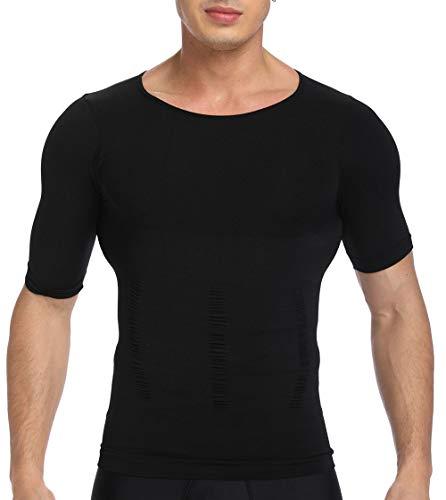 SLIMBELLE Bauchweg Shirt Herren T-Shirt Figurformende Unterhemd Slimming Top Body Shaper mit Ärmeln Kompressionsunterwäsche für Männer in weiß o. schwarz -