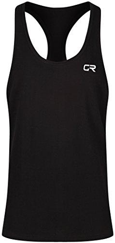 Gym Renegade Duran Tanktop, für Fitness/Bodybuilding, Ärmelloses T-Shirt mit Racerback, Herren, D12ax, schwarz - Herren Ausgestattet Jersey T-shirt