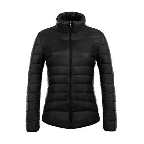 Mxssi Femmes Stand Col 90% Blanc Duck Down Veste Ultra Light Doudounes Slim Long Sleeve Parka Noir 3XL