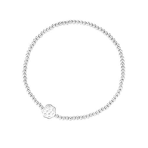 MetJakt Sleek 2,5 mm Elastische Perlen 18K Gold Plated Sterling Silber Classic Stretch Armband Verschiedene Anhänger (Blume, Sterling Silber) -