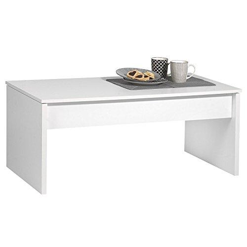 IDIMEX Table Basse de Salon Jolie Plateau Amovible mélaminé Blanc