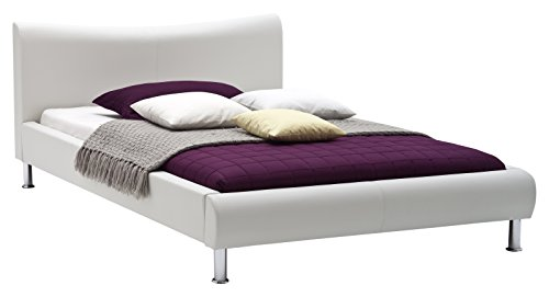 sette notti Polsterbett Bett 100x200 Weiß, Kunstleder Bett Liegefläche 100x200 cm, River Art Nr. 502-10-10000
