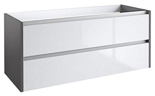 Waschtischunterschrank Kolkata 36 mit Siphonausschnitt, Farbe: Weiß glänzend / Anthrazit glänzend - 50 x 120 x 46 cm (H x B x T)