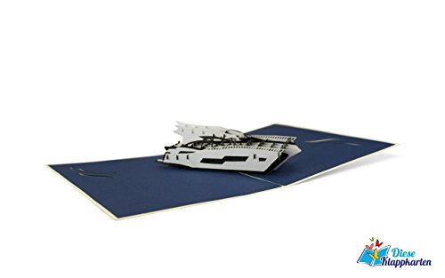 Maritimes Originelle Jacht 3D Pop-Up Karte   Meer   Schiff   Urlaub   Reise   Gutschein   Grußkarte mit Umschlag B13 ()
