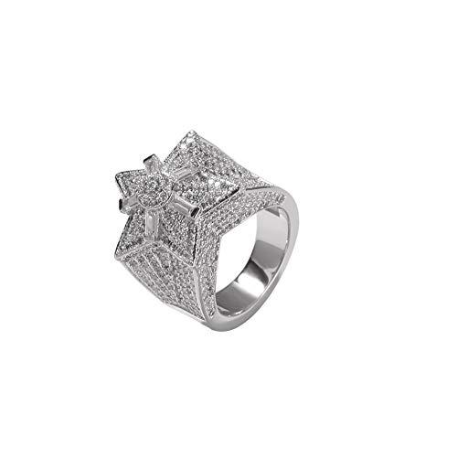 Männer Iced Out Zirkon simuliert Diamant überflutet 3D fünfzackigen Stern Ring Engagement Hip Hop Schmuck,Silver,10 (Kostüm Schmuck Ringe Engagement)