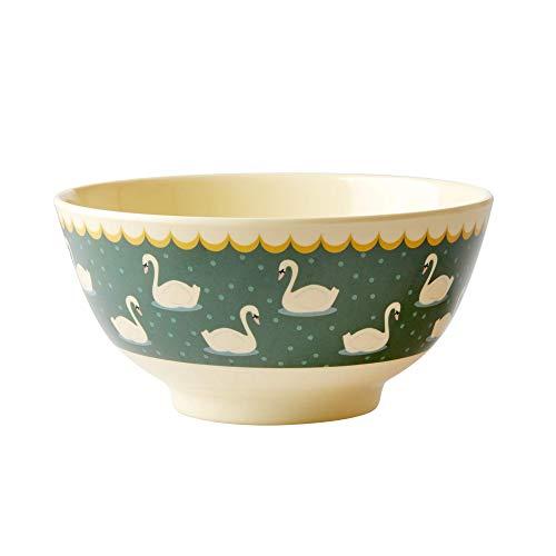 Rice Melamin Schüssel Groß mit Dekor Schwan, Grundfarbe Khaki Dk Khaki