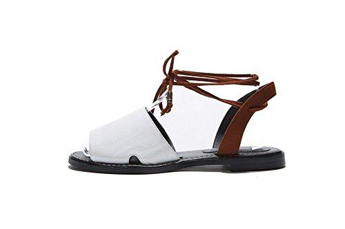 Adee pour femme Style Fermeture à Lacets Sandales en cuir Couleurs assorties Blanc - blanc