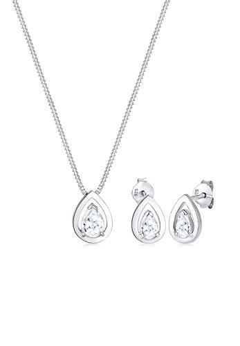 Elli Damen-Schmuckset Halskette + Ohrringe Tropfen 925 Silber Zirkonia Tropfenschliff - 0903222917_45 - 45cm Länge