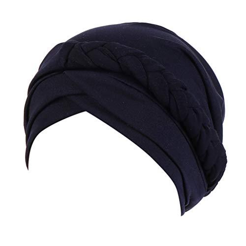 GreatestPAK Damen Einfarbig Zopf Kopf Mütze Kopftuch Hijab Druck Rüsche Turban,Marine -