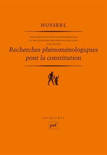 Recherches phénoménologiques pour la constitution