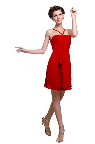 Bridal_Mall - Robe - Trapèze - Sans Manche - Femme Rouge - Rose rouge