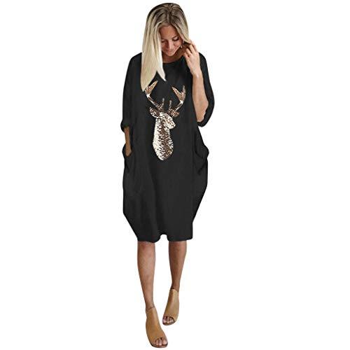 Auiyut Damen Minikleid Weihnachten Tunika Kurzarmshirt Rundhals T-Shirt Oversize Rentier Bluse Übergroße S-5XL Frauen Beiläufige Jumper Lange Shirt Lose Tops