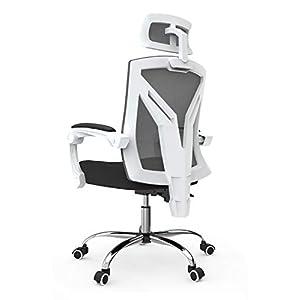 Hbada ergonomischer Bürostuhl mit Kopfstütze Drehstuhl Chefsessel mit Verstellbarer Kopfstütze Rückenlehne Höhenverstellung Neigungsverstellung Weiß
