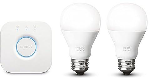 Philips Kit de démarrage 2 ampoules Hue White E27 + pont de connexion Hue