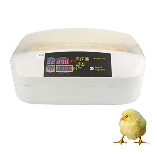 Incubadora de Huevos, 32 Huevos Pantalla LED Máquina de incubadora Digital Reino Unido Enchufe para Aves Pato de gallina Ganso, Control de Temperatura Rango: 20-40 ℃ (sin Linterna)