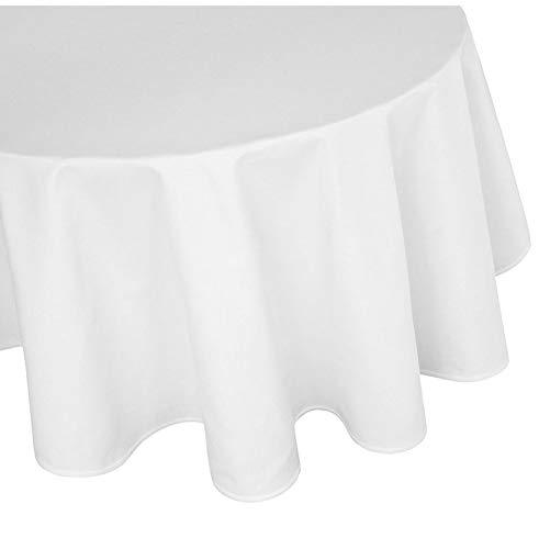 Damast Tischdecke Größe wählbar - Gastro Edition Weiss 100 % Baumwolle Rund Größe wählbar (180 cm Rund, Weiss) (Große, Runde Tischdecken)