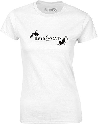Brand88 - Tats & Cats, Gedruckt Frauen T-Shirt Weiß/Schwarz