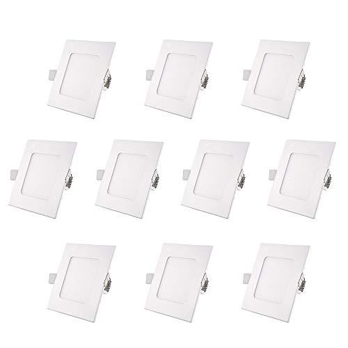 WOMAO Weiß Quadratisch Deckeneinbauleuchte Warmweiss Deckenstrahler 220V 3 x 3W Leuchtmittel Deckenstrahler Deckenspots Einbauspots Einbaustrahler 3er Set