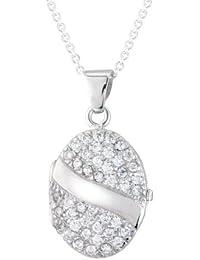 Médaillon en argent sterling avec zircon cubique taille ovale 45,72 cm dans coffret cadeau