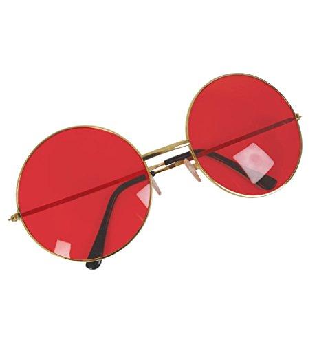 Hippie Brille, sortierte Farben (rot) (San Francisco Hippie Kostüm Für Erwachsene)