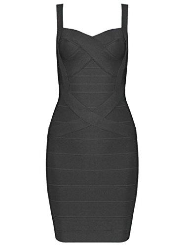 Sexy Designer Kleider (Whoinshop Frauen Rayon Sleeveless Spaghetti Strap Bodycon Mini Celebrity Verbandkleid f¨¹r die Nacht Party Club Blau S (S, schwarz))
