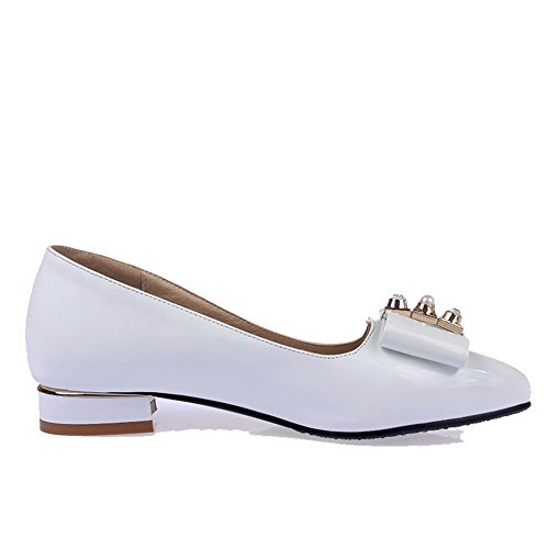 AgooLar Femme Couleur Unie à Talon Bas Tire Pointu Chaussures Légeres Blanc