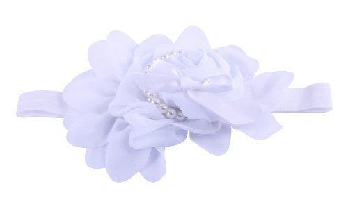 Style Nuvo - Serre-Tête /Bandeau en Satin avec Noeud Roses en Mousseline et Perles pour Filles - Taille unique, Blanc