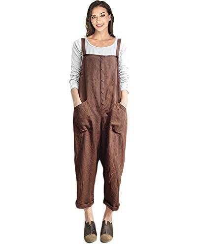 VONDA Damen Latzhose Retro Lange Overall Größe Jumpsuit Baggy Sommerhose A-Kaffee L/EU42