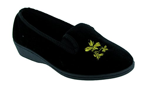 Mirak Ladies Hetty Slip On Flower Embroidered Textile Slipper Black Noir