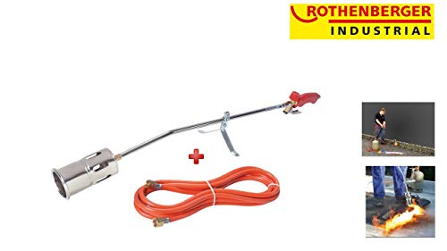 Folie Brenner (Rothenberger Industrial 030954E Hochleistungsbrenner Romaxi Premium Inkl. 5M Propan Gas Schlauch, Unkraut Vernichter, Bitumenbahnen, Folien Verschweißen)