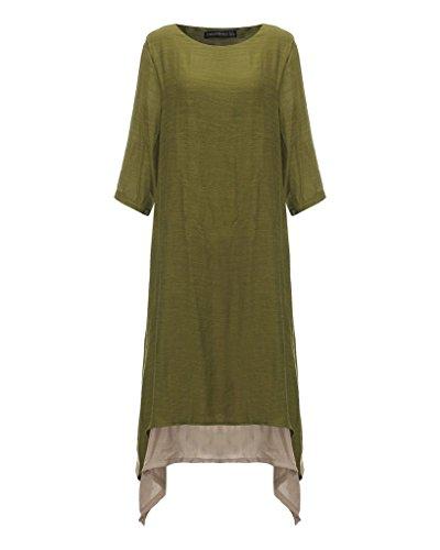 Jinyouju - Robe - Femme petit Green Half Sleeve