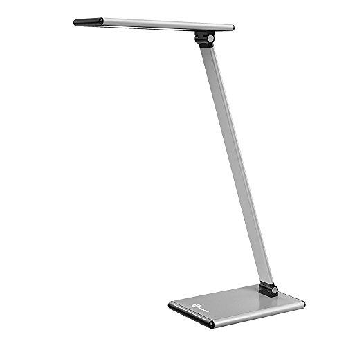TaoTronics LED Metall Schreibtischlampe 8W Tischlampe aus Aluminiumlegierung, blendfreie Tageslichtlampe, Touchbedienung, Farbtemperaturen 2700-6500K, Vibrationsalarm, Merkfunktion Silber
