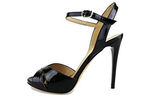 DEL GATTO sandali donna beige / nero vernice (36 EU, Nero)