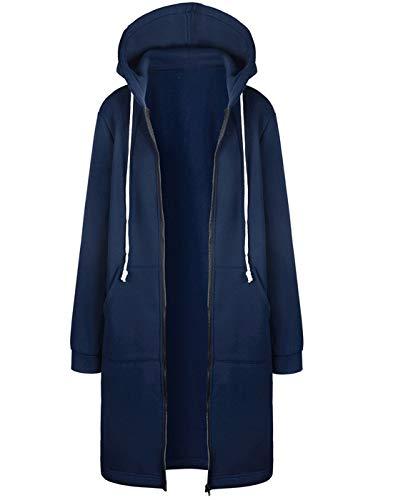 Hifanmall Damen Strickjacke Casual Mantel Hoodie Zipper Hoodies Sweatjacke Langer Manteljacke Oversized Coat Outwear Kapuzenpullover (Kapuzen-mäntel Für Frauen Plus Größe)