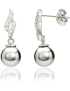 Eye Candy Damen-Ohrstecker Ohrringe 925 Sterling Silber rhodiniert Süßwasser-Zuchtperlen grau 8mm mit 18 weißen...