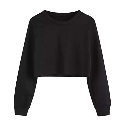 Geili Sweatshirt Damen,Frauen Langarm Sweatshirt Damen Mädchen O-Ausschnitt Solid Color Pullover Crop Tops Bluse T-Shirt Herbst Kurze Sportoberteile