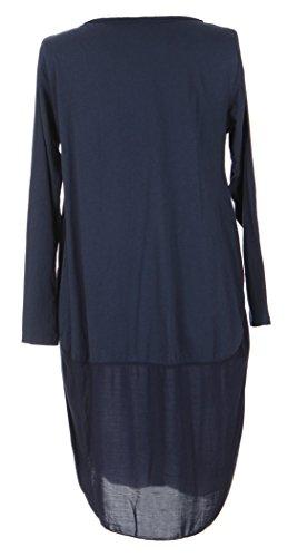 Mesdames Womens italien Lagenlook Long Manche 3 bouton U forme bas Parachute Cocoon coton Tunique robe taille unique 8-12 UK Marine