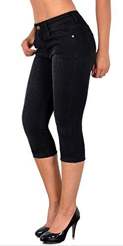 ESRA Damen Capri Hose mit Risse Damen Caprihose Kurze Jeans Hose bis Übergröße J400