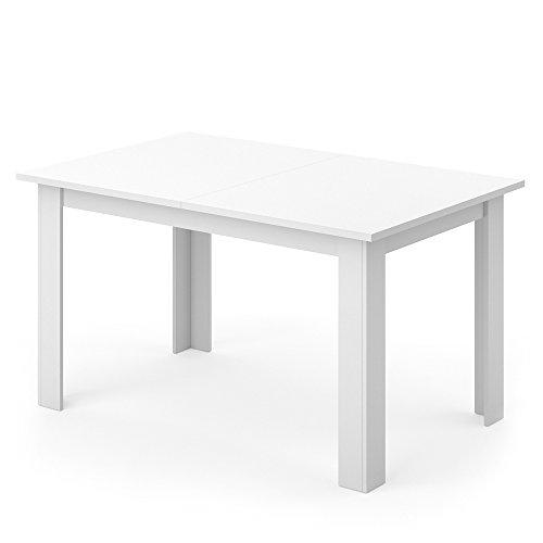 VICCO Esstisch KARLOS 140cm Weiß Nussbaum Esszimmertisch Wohnzimmer Küchentisch +++ mit kratzfester robuster Melaminharz-Oberfläche +++ (Weiß) -