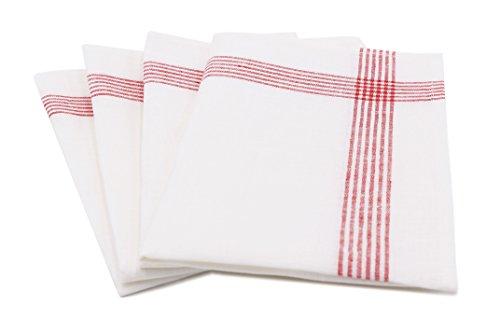 ZOLLNER® 4er-Set Geschirrtücher / Gläsertücher / Trockentücher / Küchentücher fusselarm weiß mit roten Streifen 50x70 cm aus 100% Leinen, vom Hotelwäschespezialisten, Serie