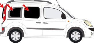 Solarplexius Pare-soleil Vitres teintées SANS film REN Kangoo 2 avec 2 portes battantes de coffre et vitres fixes rangée du milieu après 2008 Anti UV