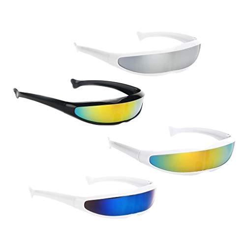 Hellery 4 Stü 80er Jahre Futuristische Sonnenbrille Mono Lens Wrap Visor Brillen Party Favors Fun Do Brillen