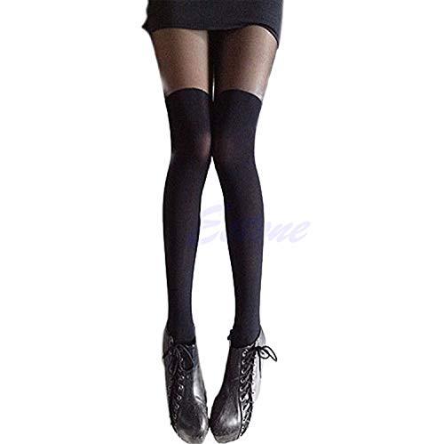 Luckyod calzamaglia aderente da donna sexy nera con colletto alla moda