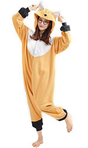 Fandecie Pyjama Tier Onesies mit Kapuze Erwachsene Unisex Cospaly Schlafanzug Halloween Kostüm Fuchs Geeignet für Hohe 160-175CM