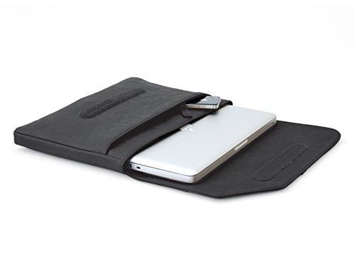 COOL BANANAS OldSchool Tasche passend für MacBook Pro (Retina) / Air 13 Zoll oder mit anderem 13,3 Zoll Notebook o. Laptop | Sleeve im Retro-Look | solo oder mit Umhängetasche nutzbar | zusätzliches Fach für Zubehör | Farbe Schwarz