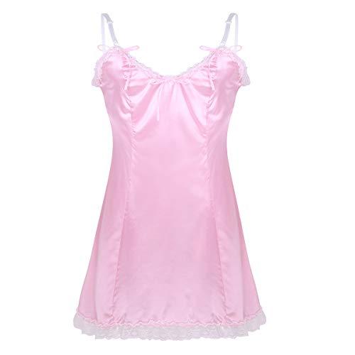 Erwachsene Nur Dessous (inhzoy Herren Sissy Kleider Satin Nachtkleid Männer Dessous-Crossdresser Reizwäsche Cosplay Party Bekleidung Kostüm Outfit Pink Rosa Schwarz Rosa XX-Large)