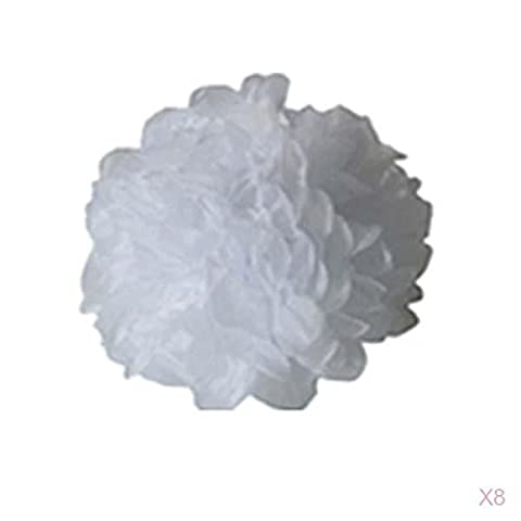 Lot de 8pcs Pompons Boule de Fleur en Papier de Soie DIY Décoration de Noël Mariage Fête (Blanc, 38cm)