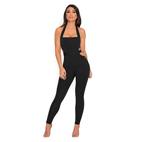 Longwu frauen ärmellose bodysuit schulterfreien rückenfrei elastischen eng anliegende sexy overall Schwarz