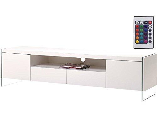 Habitat et Jardin - Meuble TV LED Clara - 180 x 40 x 45 cm - Blanc laqué