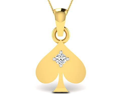 Or Jaune 9 ct Pendentifs Diamant en forme de feuille, 0.02 Ct Diamant, GH-SI, 0.33 grammes.